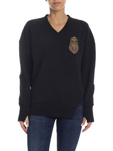 Dondup - Black sweatshirt with jewel patch