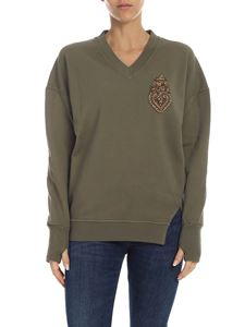 Dondup - Army green sweatshirt with jewel patch