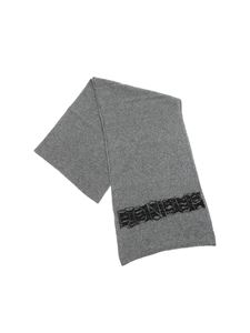 Dondup - Grey melange scarf with inlaid logo