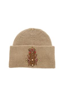 Dondup - Beige beanie with jeweled patch