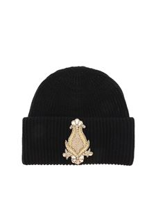 Dondup - Black beanie with golden patch