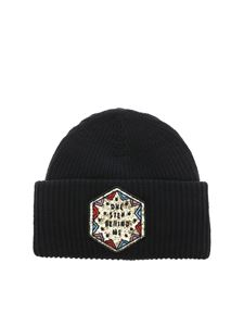 Dondup - Black beanie with sequin patch