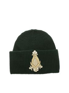 Dondup - Green beanie with golden patch