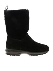 Hogan - Black ankle boots with fur detail