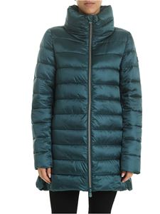 Save the duck - Logo patch long down jacket in emerald green