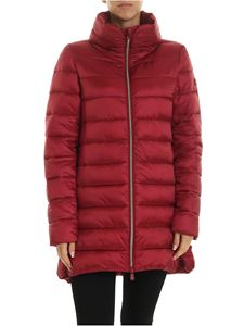 Save the duck - Down jacket with logo patch in burgundy