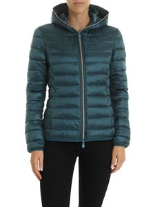 Save the duck - Logo patch down jacket in Emerald green