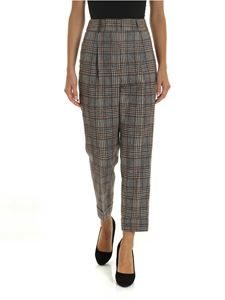 Peserico - Checked trousers in gray and brown