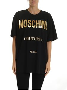 Moschino - Golden Moschino Couture print T-shirt in black