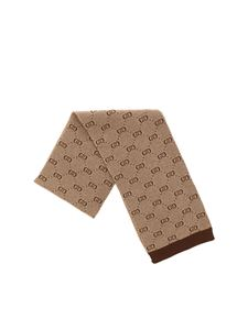 Gucci - Brown and beige scarf with GG motif
