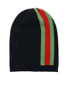 Gucci - Blue beanie with Web inlay