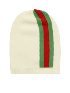 Gucci - Cream-colored beanie with Web inlay