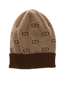 Gucci - Brown and beige beanie with GG motif