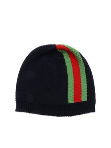 Gucci - Blue beanie with Web detail