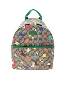 Gucci - Brown and beige backpack with multicolor prints