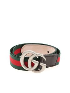 Gucci - Web fabric belt in red and green