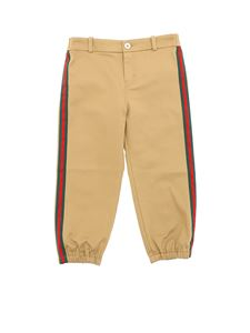 Gucci - Camel-colored pants with Web