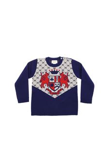 Gucci - Blue crew-neck pullover with GG wool inlay