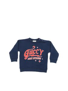 Gucci - Guccy print sweatshirt in blue