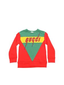 Gucci - Embroidered logo sweatshirt in red and green