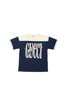 Gucci - Cream-colored Gucci logo print T-shirt in blue