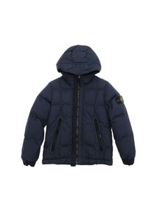 Stone Island Junior - Down jacket in blue with logo on the sleeve