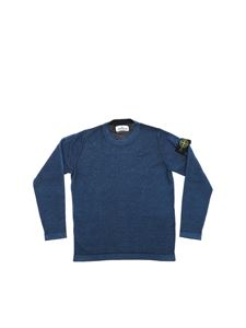 Stone Island Junior - Crew-neck pullover in blue with logo
