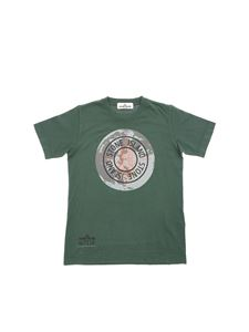 Stone Island Junior - T-shirt in green with logo print