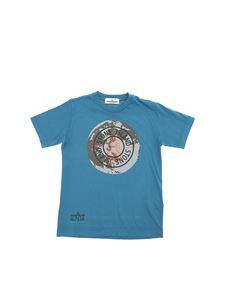 Stone Island Junior - T-shirt in petroleum blue with black logo print