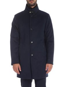 Moorer - Bond-Fur coat in melange blue