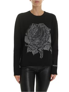 Valentino - Black pullover with rose embroidery