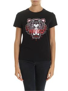 Kenzo - Pink and red Tiger print T-shirt in black