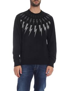 Neil Barrett - Black pullover with lightning embroidery