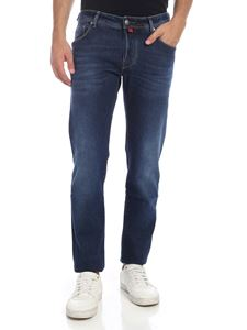 Jacob Cohën - Jeans blu indaco con logo rosso