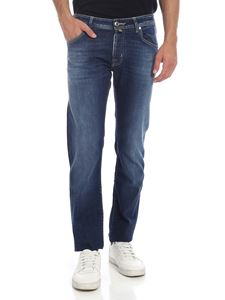 Jacob Cohën - Jeans with turquoise logo in indigo blue color