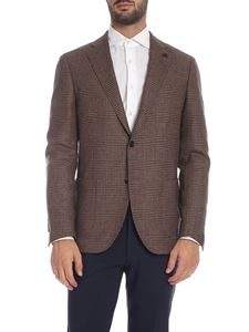 Lardini - Brown and blue prince of Wales pattern jacket