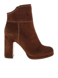 L'Autre Chose - Brown ankle boots with golden zip