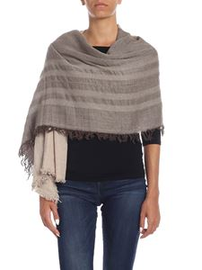 Kangra Cashmere - Beige scarf with silver lamé detail