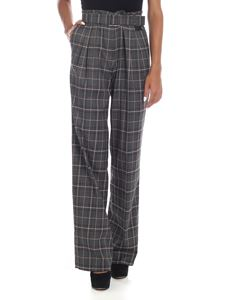 be Blumarine - Grey palazzo trousers with tartan pattern
