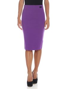 be Blumarine - Purple pencil skirt with logo