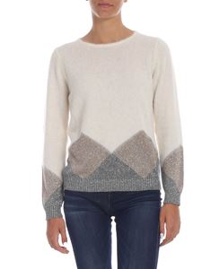 Kangra Cashmere - Cream-colored pullover with lamè inlay