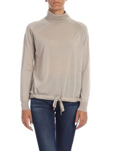 Kangra Cashmere - Dove grey turtleneck with drawstring