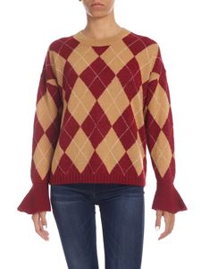 Ballantyne - Brown and burgundy pullover with Diamond inlay