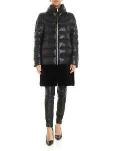 Herno - Black down jacket with eco-fur detail