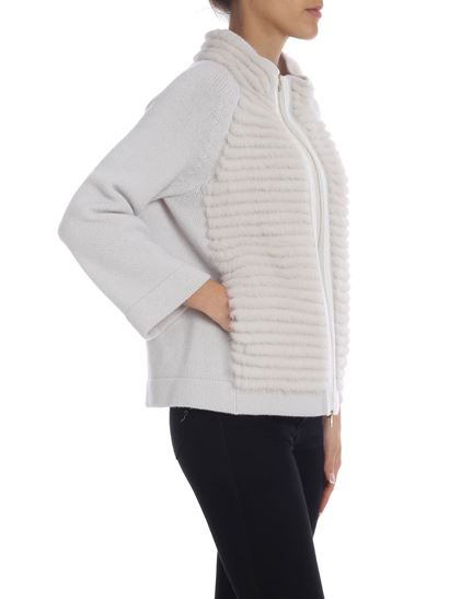 Herno - Light grey cardigan with mink detail