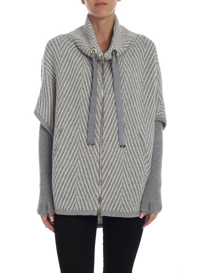 Herno - Cape with stripes pattern in grey and white