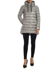 Herno - Grey down jacket with chenille details