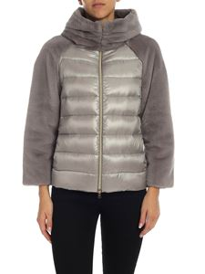 Herno - Grey down jacket with eco-fur detail