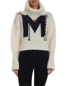 Moncler - White tricot turtleneck with M embroidery