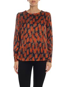 Barba - Black blouse with orange and beige print